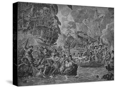 'The Dutch in the Medway', c1790-Dirk Langendijk-Stretched Canvas Print