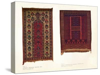 Antique Bokhara prayer rug and Sarik Turkoman or Punjdeh prayer rug, c1920-Unknown-Stretched Canvas Print