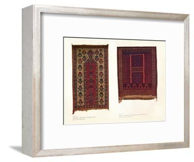 Antique Bokhara prayer rug and Sarik Turkoman or Punjdeh prayer rug, c1920-Unknown-Framed Giclee Print