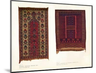 Antique Bokhara prayer rug and Sarik Turkoman or Punjdeh prayer rug, c1920-Unknown-Mounted Giclee Print