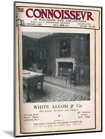 Cover of The Connoisseur, January 1921-Unknown-Mounted Giclee Print
