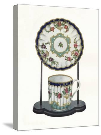 Worcester cup and saucer, c1770-Unknown-Stretched Canvas Print