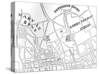 Map of Rathbone Place and its neighbourhood, Westminster, London, 1746 (1878)-Unknown-Stretched Canvas Print