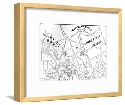 Map of Rathbone Place and its neighbourhood, Westminster, London, 1746 (1878)-Unknown-Framed Giclee Print