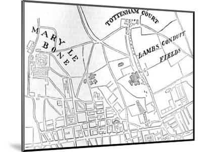 Map of Rathbone Place and its neighbourhood, Westminster, London, 1746 (1878)-Unknown-Mounted Giclee Print