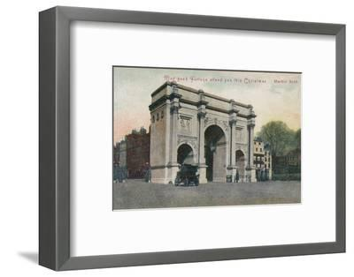 'May good fortune attend you this Christmas - Marble Arch', c1910-Unknown-Framed Photographic Print
