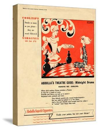 'Abdulla's Theatre Guide: Midnight Drama - Forgive Me - Darling', 1939-Unknown-Stretched Canvas Print