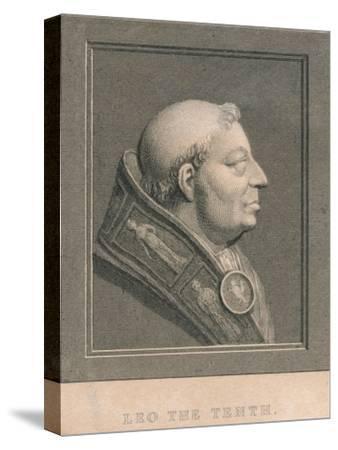 Pope Leo X (1475-1521), born Giovanni di Lorenzo de' Medici, c1830-Unknown-Stretched Canvas Print