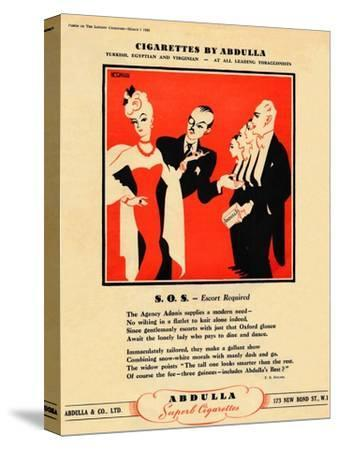 'Cigarettes by Abdulla - S.O.S. - Escort Required', 1939-Unknown-Stretched Canvas Print
