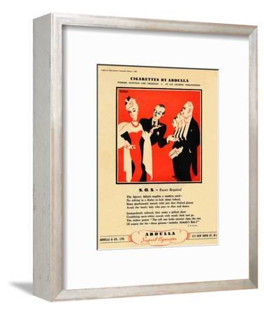 'Cigarettes by Abdulla - S.O.S. - Escort Required', 1939-Unknown-Framed Giclee Print