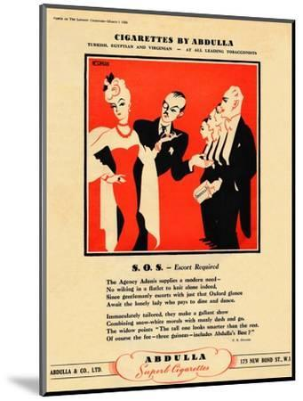 'Cigarettes by Abdulla - S.O.S. - Escort Required', 1939-Unknown-Mounted Giclee Print