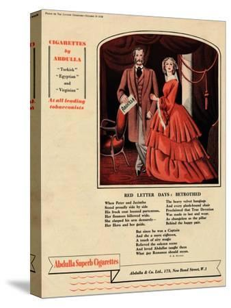 'Cigarettes by Abdulla - Red Letter Days: Betrothed', 1938-Unknown-Stretched Canvas Print