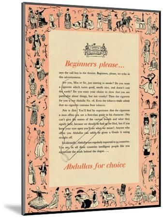'Beginners please? Abdullas for choice', 1939-Unknown-Mounted Giclee Print