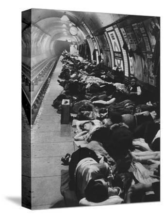 'Those who went to shelters began a new kind of night-life, 11th November, 1940', 1942-Unknown-Stretched Canvas Print