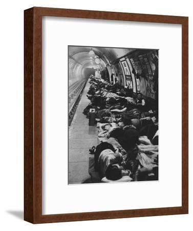 'Those who went to shelters began a new kind of night-life, 11th November, 1940', 1942-Unknown-Framed Photographic Print