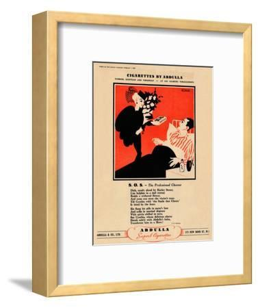 'Cigarettes by Abdulla - S.O.S. - The Professional Cheerer', 1939-Unknown-Framed Giclee Print