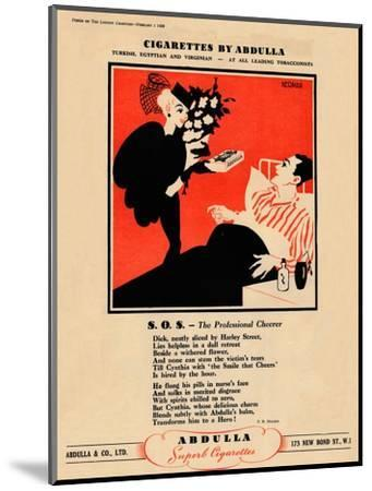 'Cigarettes by Abdulla - S.O.S. - The Professional Cheerer', 1939-Unknown-Mounted Giclee Print