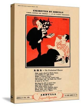 'Cigarettes by Abdulla - S.O.S. - The Professional Cheerer', 1939-Unknown-Stretched Canvas Print
