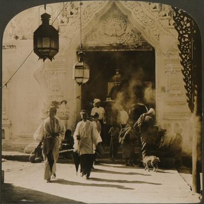 'Burmese ladies on their way to the bazaar, Mandalay, Burma', 1907-Unknown-Framed Photographic Print