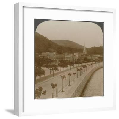 'Rio Janeiro's 5 mile quay, encircling world's largest land-locked bay', c1900-Unknown-Framed Photographic Print