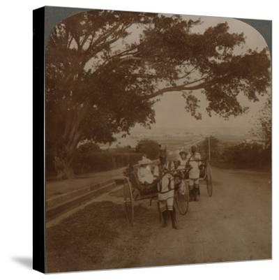Cabs drawn by natives on a residence road, Durban, S. Africa', c1900-Unknown-Stretched Canvas Print