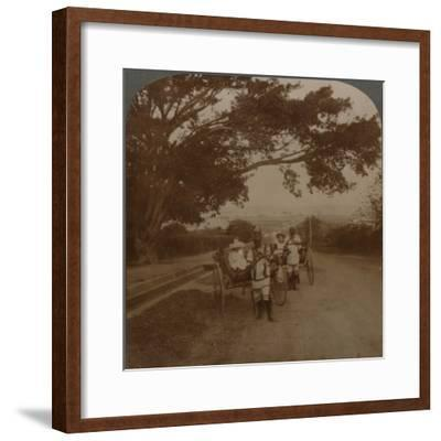 Cabs drawn by natives on a residence road, Durban, S. Africa', c1900-Unknown-Framed Photographic Print