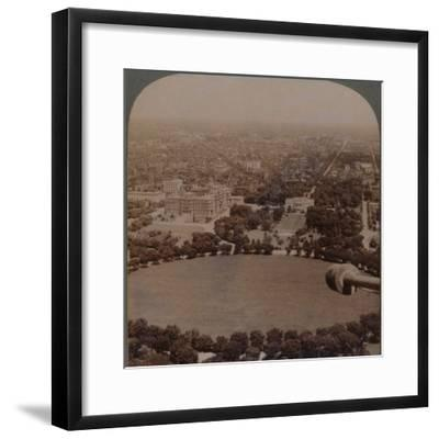 'From Washington Monument (N.), the White House, Treasury and State Department, Washington, U.S.A.'-Unknown-Framed Photographic Print