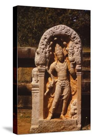 Naga King on a Guardstone at entrance to Ratanapasada, Anuradhapura, 8-9th century. (20th century)-Unknown-Stretched Canvas Print