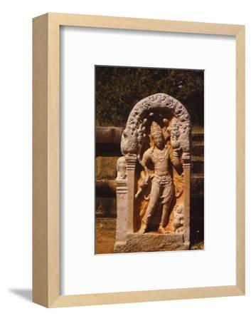 Naga King on a Guardstone at entrance to Ratanapasada, Anuradhapura, 8-9th century. (20th century)-Unknown-Framed Photographic Print