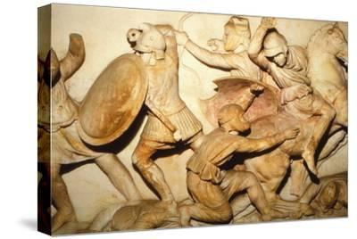 Greeks fight Persians, the Alexander Sarcophagus, Sidon, 4th century BC, (20th century)-Unknown-Stretched Canvas Print