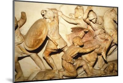 Greeks fight Persians, the Alexander Sarcophagus, Sidon, 4th century BC, (20th century)-Unknown-Mounted Photographic Print