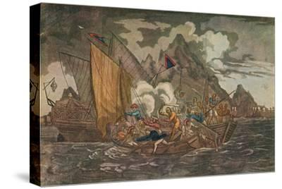 'Ships Attacked by Pirates', c1808-Unknown-Stretched Canvas Print