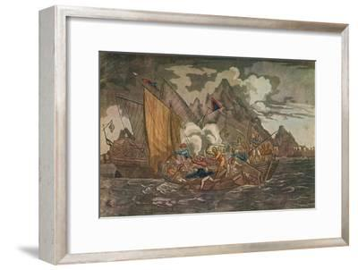 'Ships Attacked by Pirates', c1808-Unknown-Framed Giclee Print