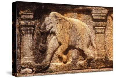 Elephant Frieze on Base of Audience Hall, Polunnaruwa, Sri Lanka, 20th century-Unknown-Stretched Canvas Print