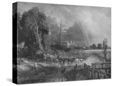 'Salisbury Cathedral from the Meadows', 1831, (1917)-Unknown-Stretched Canvas Print
