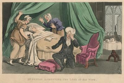 'Dr Syntax Lamenting the Loss of His Wife', 1820-Thomas Rowlandson-Framed Giclee Print
