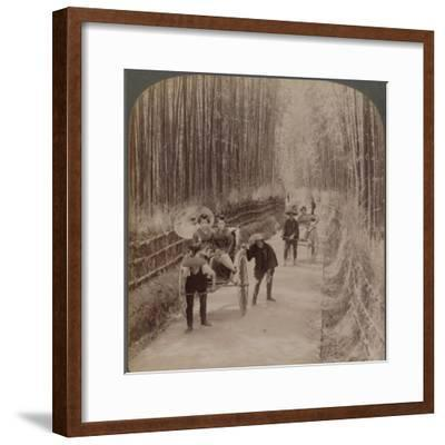 Under the bamboo trees - on the famous avenue near Kiyomizu, Kyoto, Japan, 1904-Unknown-Framed Photographic Print