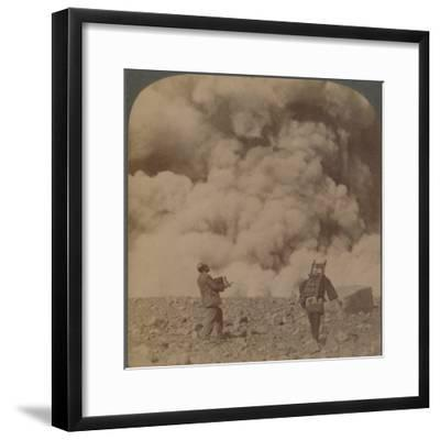 'Volcanic explosion - smoke, steam and stones thrown from crater of Asama-yama, Japan', 1904-Unknown-Framed Photographic Print