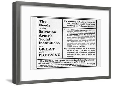'The Needs of the Salvation Army's Social Institutions are Great and Pressing'', 1901-Unknown-Framed Giclee Print