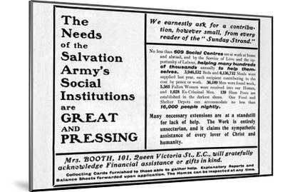'The Needs of the Salvation Army's Social Institutions are Great and Pressing'', 1901-Unknown-Mounted Giclee Print