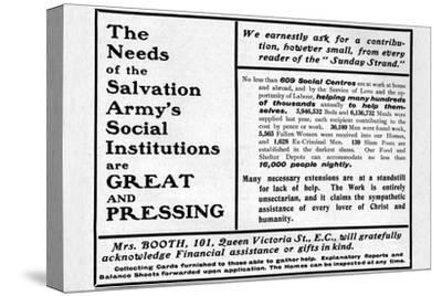 'The Needs of the Salvation Army's Social Institutions are Great and Pressing'', 1901-Unknown-Stretched Canvas Print
