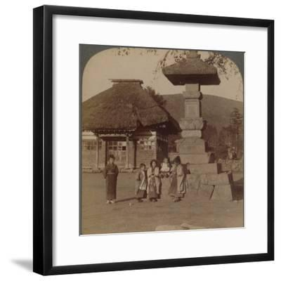 Children in front of village schoolhouse, Karuizawa, Japan', 1904-Unknown-Framed Photographic Print