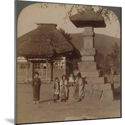 Children in front of village schoolhouse, Karuizawa, Japan', 1904-Unknown-Mounted Photographic Print