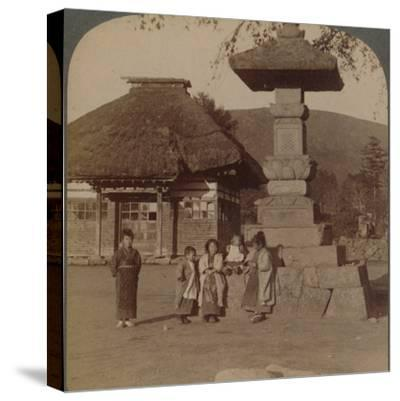 Children in front of village schoolhouse, Karuizawa, Japan', 1904-Unknown-Stretched Canvas Print