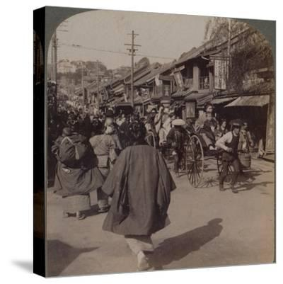 'Shops and crowds on Batsumati Street, in the native quarter, Yokohama, Japan', 1904-Unknown-Stretched Canvas Print