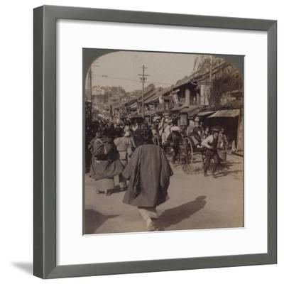 'Shops and crowds on Batsumati Street, in the native quarter, Yokohama, Japan', 1904-Unknown-Framed Photographic Print