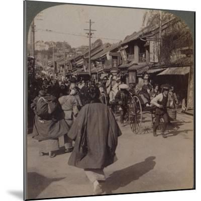 'Shops and crowds on Batsumati Street, in the native quarter, Yokohama, Japan', 1904-Unknown-Mounted Photographic Print