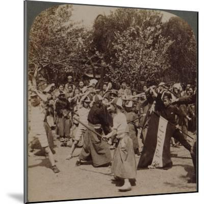 'Warlike spirit of youthful Japanese Schoolboys in Ueno Park, Tokyo, Japan', 1904-Unknown-Mounted Photographic Print