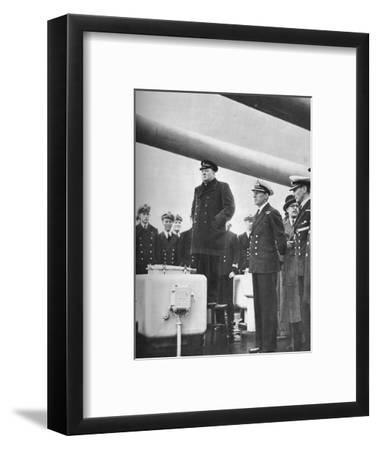 'Addressing the Crew of H.M.S. Exeter on their return from the sinking of the Graf Spee at the b-Unknown-Framed Photographic Print