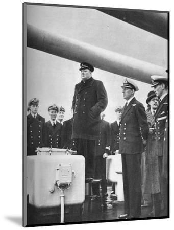 'Addressing the Crew of H.M.S. Exeter on their return from the sinking of the Graf Spee at the b-Unknown-Mounted Photographic Print